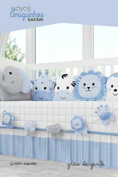 O Kit Berço Amiguinhos Safári Azul traz proteção para o seu bebê e o ensina  desde bc6155fc4d3