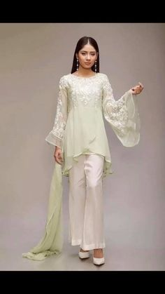 size large and x l stuff shiffon beautiful thread embroidery white trauser with black piping on side maria b brand only serious buyers msg me Simple Pakistani Dresses, Pakistani Fashion Casual, Indian Fashion Dresses, Pakistani Dress Design, Indian Designer Outfits, Designer Dresses, Fashion Outfits, Stylish Dress Designs, Stylish Dresses
