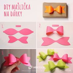 How to make paper craft bow tie step by step DIY tutorial instructions ♥ How to, how to make, step by step, picture tutorials, diy instruct by Mary Smith fSesz Diy Bow, Diy Ribbon, How To Make Paper, How To Make Bows, Papier Diy, Bow Template, Paper Crafts Origami, Creation Deco, Gift Bows