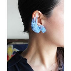 VINTAGE PLASTIC BLUE FEATHER EARRING/ヴィンテージイヤリング