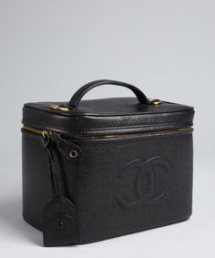 Chanel black caviar leather vintage travel case | BLUEFLY up to 70% off designer brands