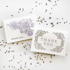 Grey Floral Thanks Card Thanks Card, Custom Stationery, Graduation Cards, Acrylic Box, Letterpress Printing, Custom Items, Wedding Accessories, Thank You Cards, Envelope