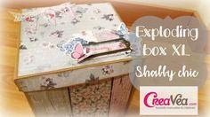 Tutorial scrapbookig Exploding box XL Shabby chic