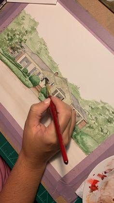 Watercolor Home Portrait time lapse video - Malerei Kunst Watercolor Painting Techniques, Watercolor Video, Watercolour Tutorials, Sketch Painting, Watercolor Artwork, Painting Lessons, Drawing Techniques, Pencil Art Drawings, Drawing Sketches