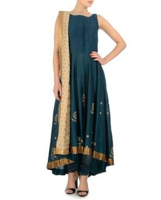Prussian Blue Suit with Golden Floral Motifs - MYOHO by Kiran and Meghna - Indian designer wear - #Multicolor - Prints and Patterns - Contemporary Designer Wear - Tunics and Dresses - Indian Ethnic Fashion - Designer Wear from India - Runway Fashion - Indian Suits