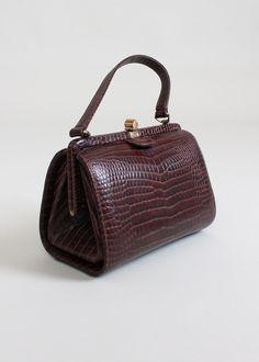 Vintage 1950s Faux Lizard Doctor's Bag Purse