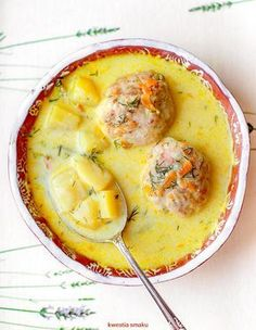 ***Dill Soup w/Meatballs***Zupa koperkowa z pulpecikami Best Soup Recipes, Cookbook Recipes, Baby Food Recipes, Cooking Recipes, Favorite Recipes, Healthy Recipes, Cooking Jasmine Rice, Cooking Wild Rice, How To Cook Squash