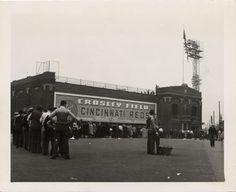 An exterior view of Crosley Field in Cincinnati, Ohio, taken April 15, 1941.