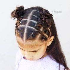 """175 Likes, 18 Comments - Little Girl Hairstyle Ideas (@l_r_hairstyles) on Instagram: """"I love this style! I did crossed elastics into messy buns. I loved the little top buns…"""""""