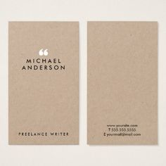 #white - #Simple Modern Minimalist Black and White Writer Business Card
