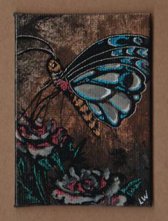 LWick Original ACEO madness99 special art event dark butterfly flowers roses
