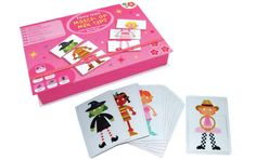 Make funny fancy dress people combinations with 27 head, body and leg cards.