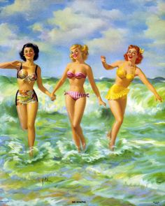 Darling vintage pinups spending a fun day frolicking at the beach