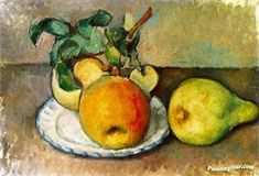 Still LIfe with Apples and a Pear Artwork by Paul Cezanne Hand-painted and Art Prints on canvas for sale,you can custom the size and frame
