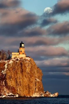 Moonrise and sunset at Split Rock Lighthouse, North Shore of Lake Superior, Minnesota
