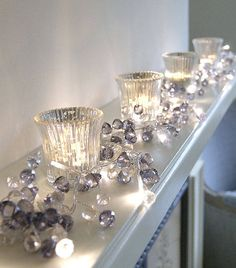 .crystal light on fire mantle.