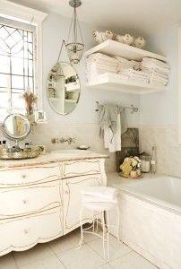 Vintage Bathroom * Vintage Décor, bureau turned into vanity