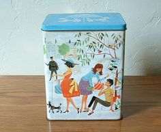 Vintage Candy Tin Street Scene with Poodle Dogs by TheFrabjousDay, $16.00