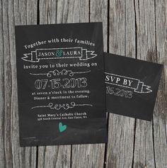 DIY Printable  Wedding Invitation Set with RSVP by themunch