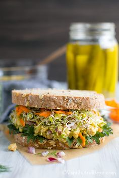 Ten minutes to a tangy Smashed Chickpea Salad Sandwich with dill and spicy mustard - a delicious vegetarian sandwich or salad for a week-day lunch, weekend picnic or potluck! Chickpea Recipes, Healthy Recipes, Lunch Recipes, Whole Food Recipes, Vegetarian Recipes, Cooking Recipes, Dinner Recipes, Tofu Recipes, Chickpea Ideas