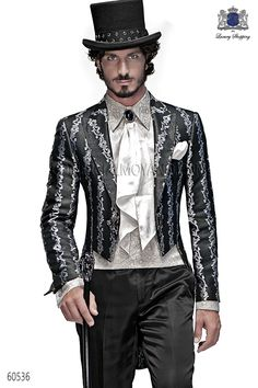Italian bespoke black-silver brocade Tailcoat with peak lapel, coodinated with black satin trousers, style 60536 Ottavio Nuccio Gala, 2015 Baroque collection.