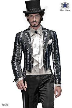Traje de novio italiano Frac en tejido brocado plata y negro, coordinado con pantalon raso negro, modelo 60536 Ottavio Nuccio Gala colección Barroco 2015.