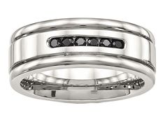 Chisel Stainless Steel Polished Grooved Black CZ Ring