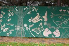 paint a tree on the fence where the tree is behind it Sensory Garden, Tree Graphic, Fence Art, Garden Club, Mural Art, North West, Squirrel, Flora, Moose Art