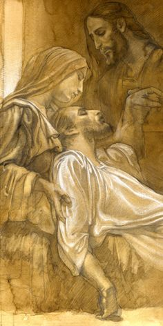 "J. Langley. The Death of Saint Joseph. Charcoal Study for ""The Hidden Years"" Triptych."
