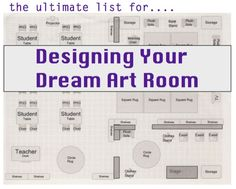The Ultimate List for Designing Your Dream Art Room. Imagine you get to design your own art room… What things or space would you include in your dream art room? Art Classroom Management, Classroom Organisation, Classroom Design, Room Organization, Classroom Ideas, Dream Art Room, Art Doodle, Classe D'art, 6th Grade Art