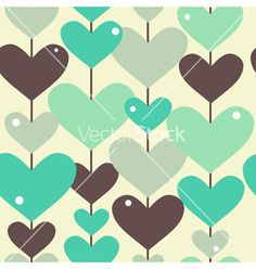 Seamless pattern with abstract hearts vector  - by Chantall on VectorStock®