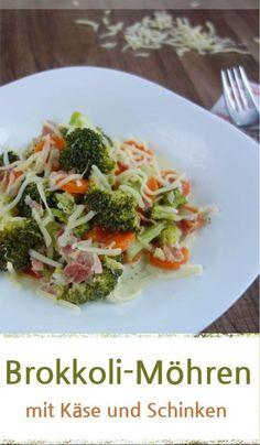 Rezept für ein leckeres Brokkoli-Gemüse-Möhren mit gedünsteten Zwiebeln und Schinken. Dazu mit Käse bestreut. Ideal als Hauptspeise oder als Beilage zu Fleisch, Kartoffeln und anderen Kombinationen. #gemüse #beilage #käse