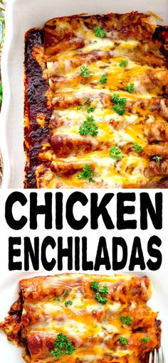 Chicken Enchiladas with Homemade Red Enchilada Sauce is packed full of layers of delicious flavor. From the homemade red enchilada sauce to cooking the chicken in broth with tomatoes,garlic. This is one fantastic recipe! Sauce Enchilada, Recipes With Enchilada Sauce, Recipe For Chicken Enchiladas, Best Chicken Enchilada Recipe, Best Enchiladas, Chicken Enchilada Casserole, Mexican Dishes, Mexican Food Recipes, Dinner Recipes