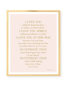 I Love You Without Knowing How Print - Pablo Neruda Quote
