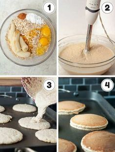 collage showing 4 steps of making banana oatmeal pancakes