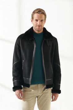 Pronto Men Bomber Black Shearling Jacket Black Noble   Luxury Shearling Black Shearling Jacket, Shearling Coat, Leather Jacket, Black Pattern, Zip Ups, Pilot, Men Casual, Pure Products, Luxury