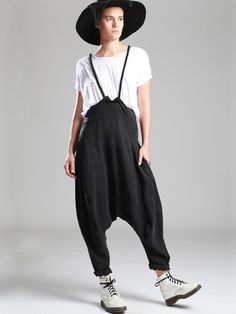 BALLOON TENCEL TROUSERS WITH REMOVABLE BRACES - Woman -