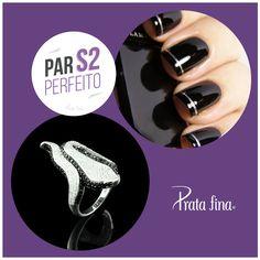 #ParPerfeito: a combinação do PRETO e da PRATA cai bem em qualquer ocasião, seja durante o dia ou à noite, em uma festa elegante.   Anel Cobra com Zircônia Pave: http://pol.vu/147