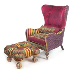 A Broadway melody of magic, wit, and candy-striped enchantment; furniture so deliriously offbeat, it is welcome anywhere. The riotously colorful Kaleidoscope Footstool is an ideal complement to the matching wing chair, with its zigzags, stripes, and a ruffled, spotted button. Upholstered birch frame sits atop four handcrafted ceramic feet. Made in the U.S.