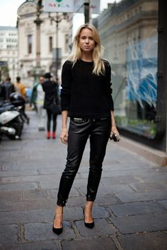 elin kling all black outfit leather pants pointy heels