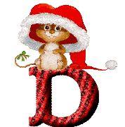 Alfabeto Animado de Gatito con Gorro de Santa Claus.