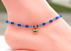 Wife blue anklet, cats eye, gift for mom, Mothers day gift - Geschenkeideen Great Gifts For Mom, Gifts For Wife, Mother Day Gifts, Gifts For Her, Beaded Anklets, Beaded Necklace, Beaded Bracelets, Rhinestone Jewelry, Ankle Jewelry