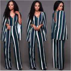 ELEGANT WOMEN MULTI STRIPY JUMPSUITS WITH CAPE  -ONLY GREEN & WHITE STRIPS LEFT.   -Unique to our fashion boutique and site  -Trendy and Classy -Comes with a beautiful Cape at the back -2 Glitter buttons at the back -Elegant and Comfortable -Come in S, L, XL, XXL -COLOURS; Only in Blue Multicolour -The other colours are sold out. -Pls contact us if interested in the other colours.  -We do not add VAT any of the items we sell  -Made in Ireland Long Jumpsuits, Jumpsuits For Women, Plus Size Romper, Striped Jumpsuit, Denim Jumpsuit, Overalls Women, Elegant Woman, Playsuit, Wide Leg Pants