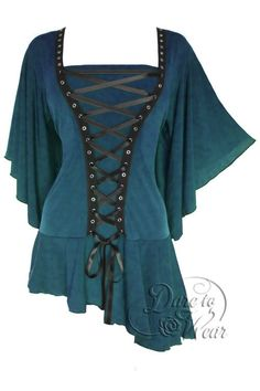 Dare To Wear Victorian Gothic Women's Alchemy Corset Top Blue Jade - made with love :) in San Francisco!