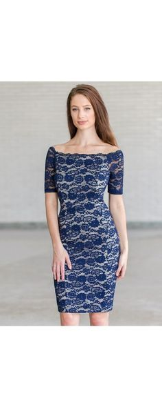 Lily Boutique Lace Luxe Fitted Dress in Navy/Beige, $38 Navy Lace Pencil Dress, Cute Navy Dress, Navy Cocktail Dress www.lilyboutique.com