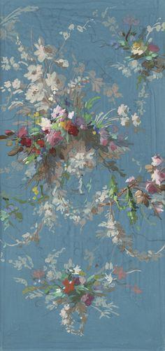 Blue Floral Watercolor BY EUGÈNE PETIT FOR FONTAINEBLEAU, LIMITED EDITION PRINT - Art