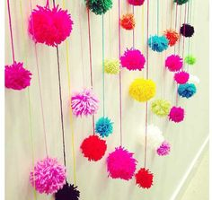 hanging pom poms - photo booth