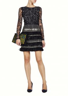 Lattice Feather Lace Embroidered Dress  - Dresses - Matthew Williamson