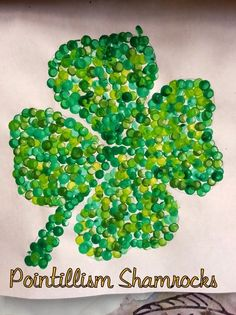 pointillism art for kids, irish crafts for kids, shamrock crafts for kids, clover Saint Patricks Day Art, St Patricks Day Crafts For Kids, March Crafts, St Patrick's Day Crafts, Kids Crafts, Easy Crafts, Spring Art, Spring Crafts, St. Patrick's Day