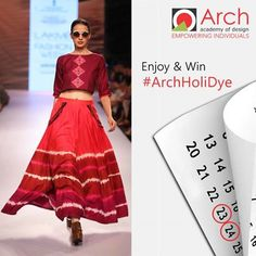 """Are you ready for the #HoliDYE?? #Holi #Contest  Wear Your True Colours this HOLI but in a DESI #Style! Don DYED Clothes ( Tie & DYE prints etc) and Get on the #HoliDYE wagon!  > Post Your Picture wearing Stylishly Dyed Clothes & Tag ARCH Academy of Design. Also, Use HashTag #ARCHHoliDYe > Ask Your FRIENDS with Whom You will spend your Holi-Dyes to Like Your Picture . Maximum Likes & Best Picture will WIN!! > """"Get Creative- Get Crazy!  Win Exciting Gifts !! Contest Open till 25th March'16"""